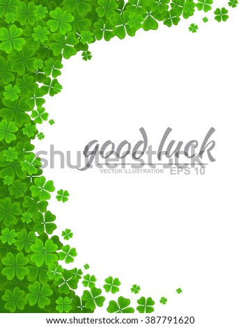 Saint Patricks Day vector background. Green clover border, floral frame with realistic four-leaf clover isolated on white background. Ireland symbol - stock vector