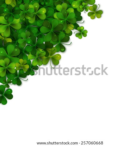 Saint Patricks Day vector background, realistic shamrock leaves - stock vector