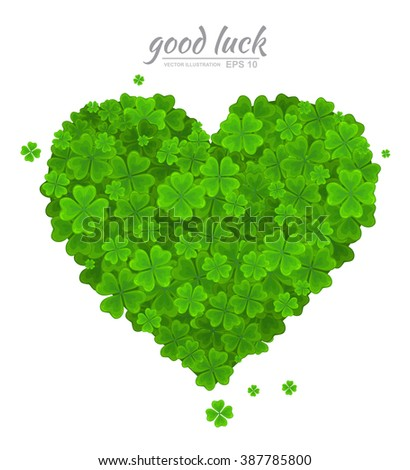 Saint Patricks Day vector design element. Green heart  of the  lucky clover  or shamrock isolated on white background. Ireland symbol, Irish love - stock vector