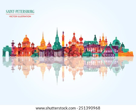 Saint Petersburg detailed city skyline. Vector illustration - stock vector