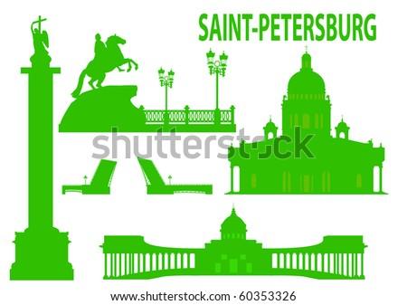 Saint petersburg skyline and symbols. Vector illustration - stock vector