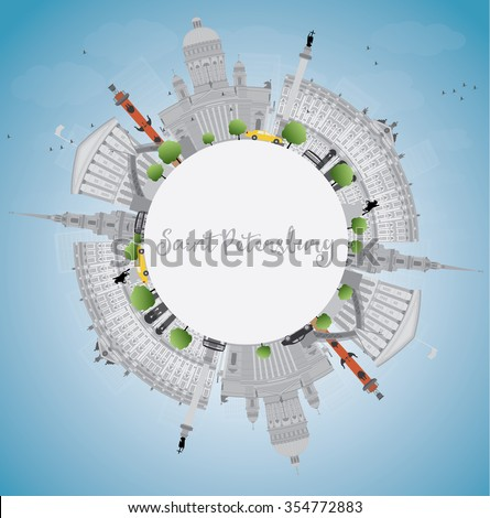 Saint Petersburg skyline with gray landmarks and copy space. Business travel and tourism concept with historic buildings. Image for presentation, banner, placard and web site. Vector illustration