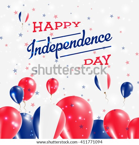 Saint Pierre And Miquelon Independence Day Patriotic Design. Balloons in National Colors of the Country. Happy Independence Day Vector Greeting Card.