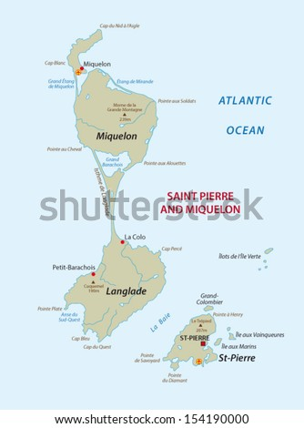 Saint Pierre Miquelon Map Stock Vector 154190000 Shutterstock
