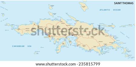 Saint Thomas US Virgin Islands Map Stock Vector (Royalty Free ...