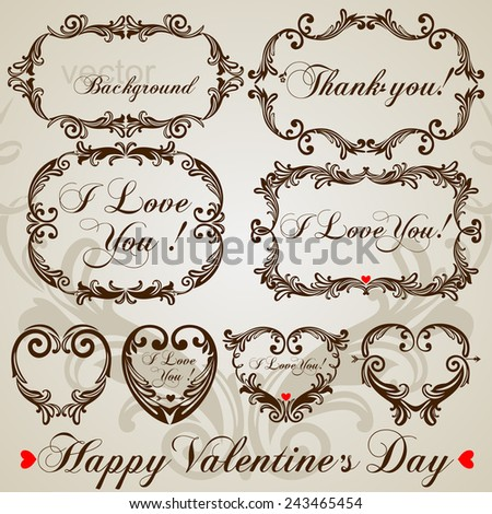 Saint Valentine's Day's Vintage Frame Set, Vector Illustration  - stock vector