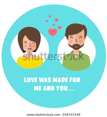 Saint Valentine's postcard. Flat style. Love greeting card - stock vector