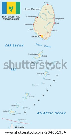 Saint Vincent Grenadines Map Stock Vector Shutterstock - Saint vincent and the grenadines map