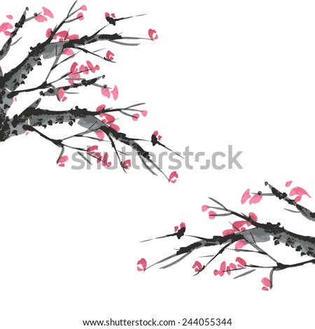 Sakura and mountains ink landscape illustration. Sumi-e vector image.