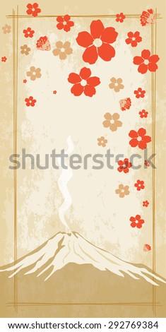 Sakura blossom on the background of Mount Fuji - stock vector