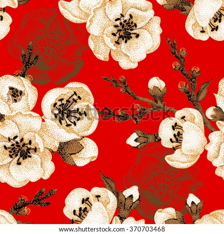 Sakura branch on red background. Vector seamless pattern. Floral design oriental style. Vintage. Black white red. Beautiful flowers of Oriental cherry tree gold foil printing. Oriental cherry tree.  - stock vector