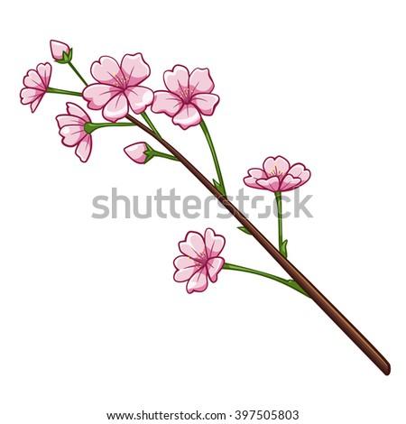 sakura cartoon style cherry blossom vector stock vector hd royalty rh shutterstock com cartoon cherry blossom wallpaper cartoon images of cherry blossoms