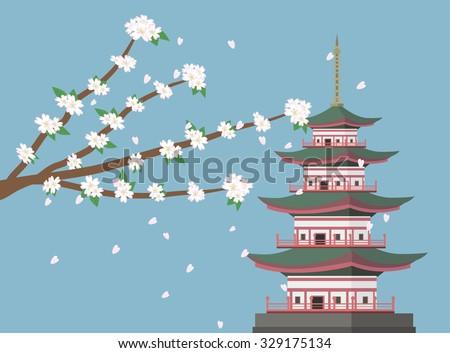 sakura cherry blossom branches with pagoda background vector - stock vector
