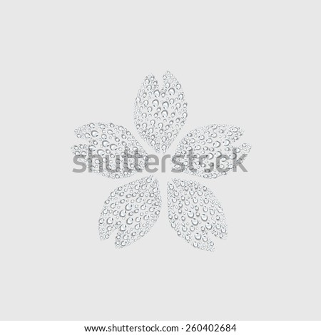 Sakura flower sign, transparent water drop vector - stock vector