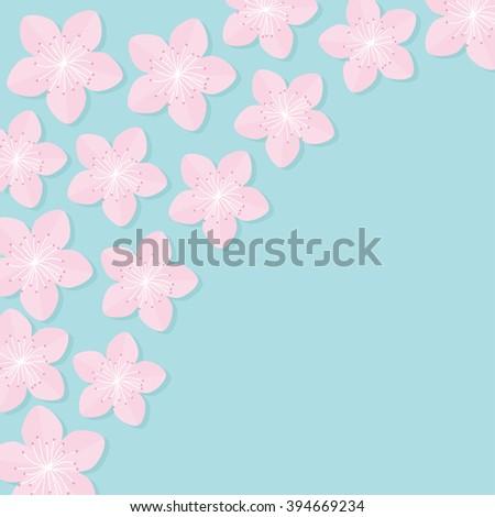 Sakura flowers. Japan blooming cherry blossom set in the corner Blue background Template Flat design Vector illustration - stock vector