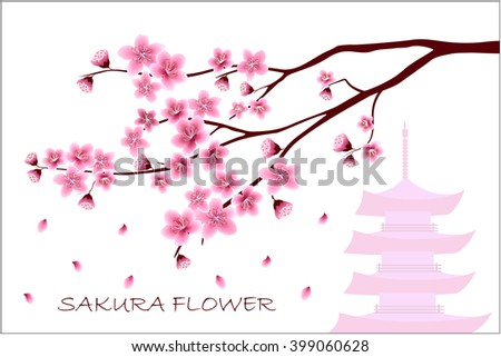 Sakura flowers vector illustration.  invitation cards with a blossom sakura.  Branch of a blossoming cherry tree isolated on a white background. The branch of the cherry blossoms with pagoda. - stock vector