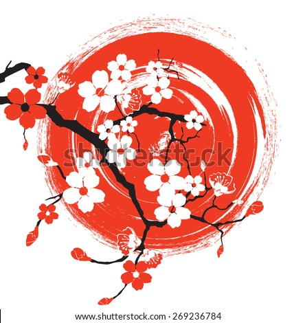 Sakura on the background of the sun - stock vector