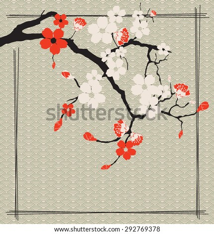 Sakura on the background of the waves - stock vector