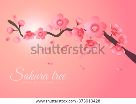 Sakura Vector flower branch element in the sky with sun. Elegant texture for backgrounds. 3D elements Paper cut. - stock vector