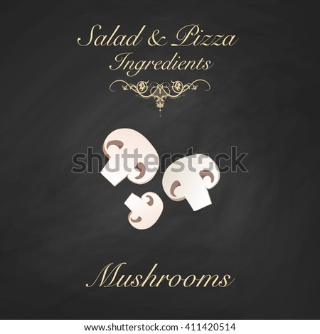 Salad and pizza ingredients - sliced button mushrooms. Vector Illustration - stock vector