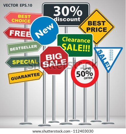 Sale and discount concept of color signpost exhibition display, Vector illustration - stock vector
