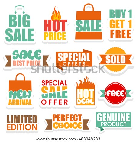 Sale and Discount Offer sticker, tag, label or badge design on white background.