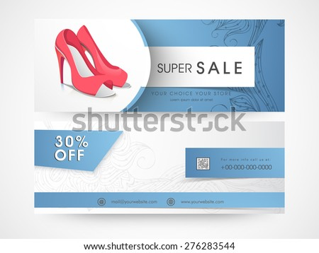 Sale and discount offer website header or banner set of woman's sandal. - stock vector