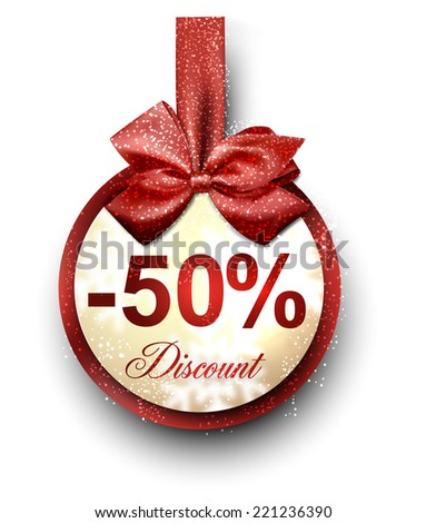 Sale and discount paper label with red bow and ribbon. Vector. - stock vector