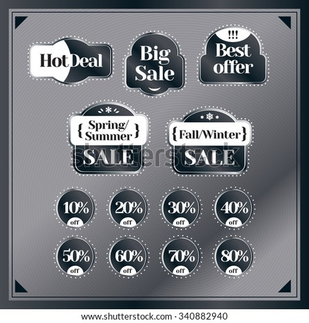 Sale and discount set of vintage labels. Best price and special offer. Banner, label, flier, board. Shopping sticker. Price reduction. Announcement of sale. Trade commerce element. Promo sign. Vector - stock vector