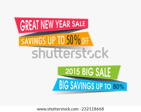 Sale and discount tag for New Year and other occasion celebrations on beige background. - stock vector