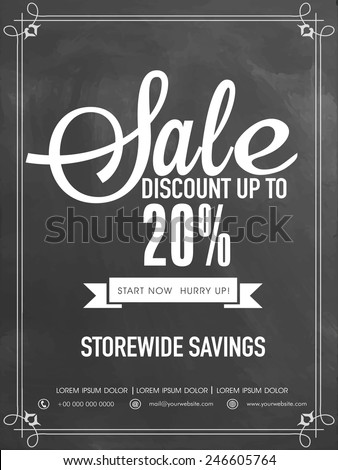 Sale and discount upto 20% off flyer, template or banner. - stock vector