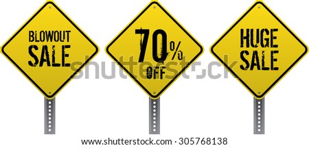 Sale and discount yellow diamond traffic signs. Neatly grouped to be used blank or with notice. Realistic signs and grungy text. - stock vector
