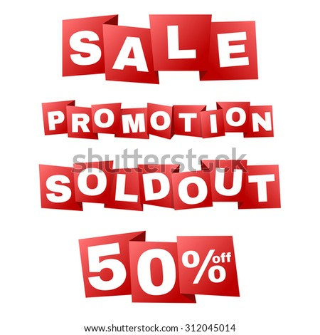 Sale and promotion and sold out on Red banner tag zigzag fold vector design - stock vector