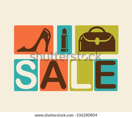 Sale and shopping background - stock vector