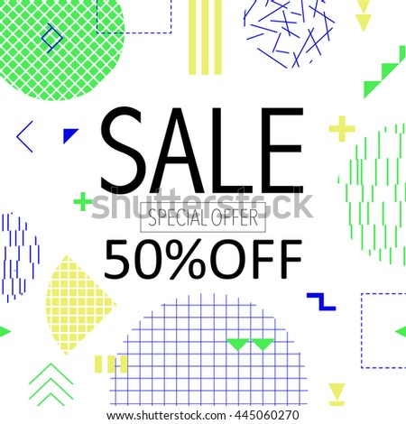 Sale and special offer modern banner in the Memphis style with bright colors Vector illustration. 80s - 90s