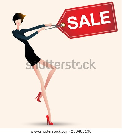 sale and woman shopping, vector illustration of fashion, price tag - stock vector