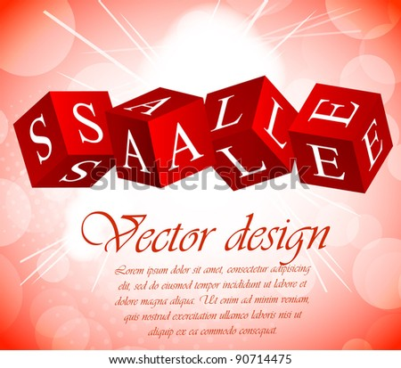 Sale background with cube in red color - stock vector