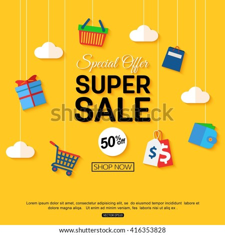 Sale background with shop icons. Vector sale banner template. Shop now.  - stock vector