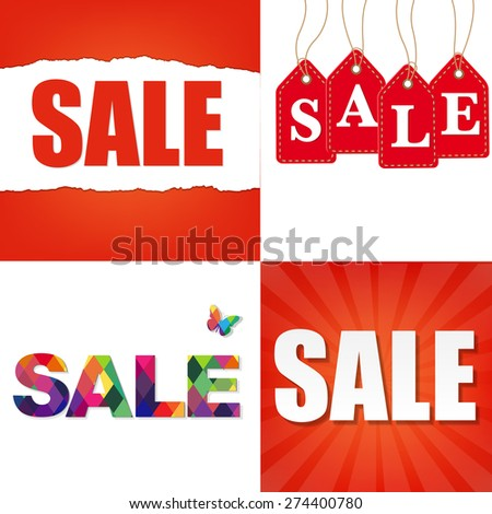Sale Backgrounds With Gradient Mesh, Vector Illustration - stock vector