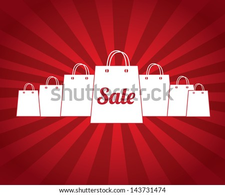 sale bags over red background vector illustration - stock vector