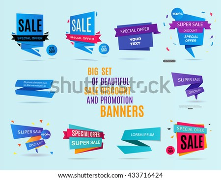 Sale banner design. Big set of beautiful sale discount and promotion banners. Advertising element. Banner design. Sale label. Vector illustration, eps 10 - stock vector