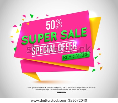 Sale Banner Design. Sale Tag can use for promotion. Vector illustration, EPS 10. - stock vector