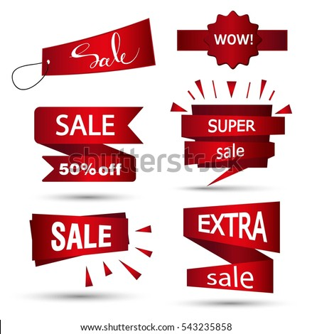 Sale banner design. Set of beautiful red discount and promotion banners. Advertising element. Sale banner tag. Sale banner art. Vector illustration, eps 10