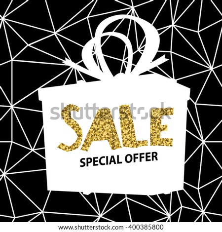 Sale banner on Low Poly Black Background. Sale template. Big sale. Super Sale and special offer. Triangular. Gold. - stock vector
