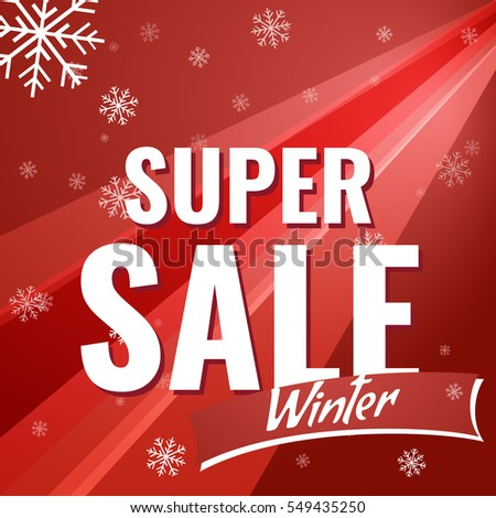 Sale banner on red background with snowflakes. text super Sale winter - vector poster.