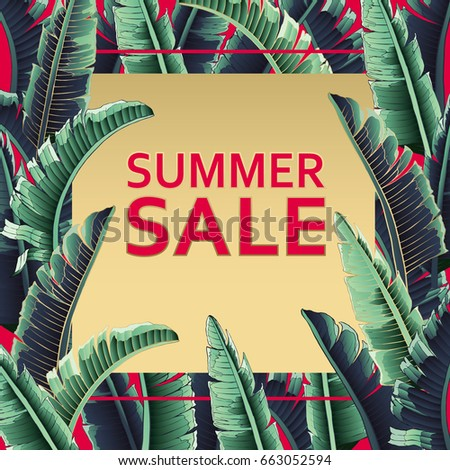 Sale banner, poster with palm leaves, jungle leaf and handwriting lettering. Floral tropical summer background. Vector illustration red text.