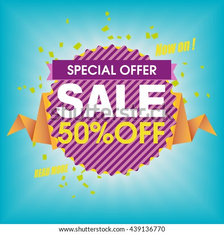 Sale banner, sale background. Big sale. Sale tag, sale poster. Super Sale and special offer. 50% off. - stock vector