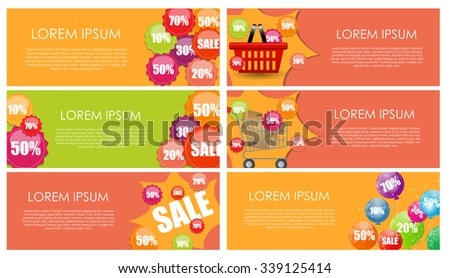 Sale Banner Set with Place for Your Text. Vector Illustration EPS10 - stock vector