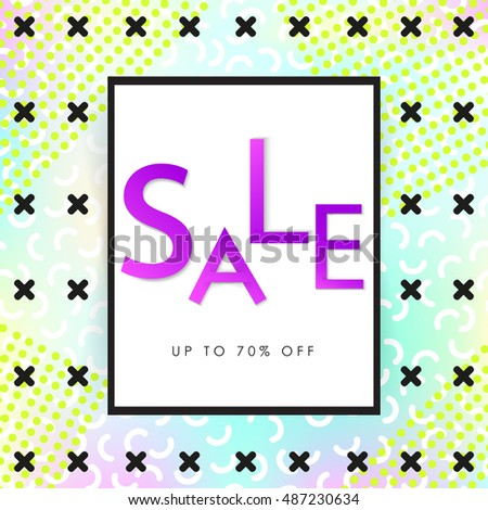 Sale banner. Square. Memphis style. Vector illustration. Holographic background with geometric elements. Retro style. Bright letters. Simple form