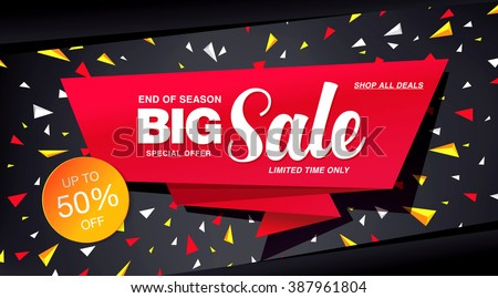 sale banner template design - stock vector